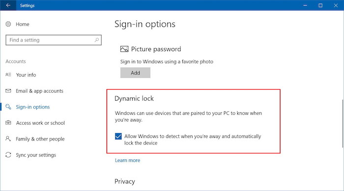 dynamic lock win10