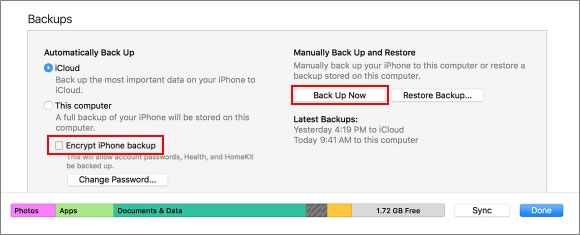 how to find encrypted iphone backup password