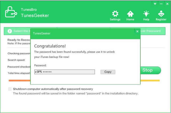 itunes backup password format