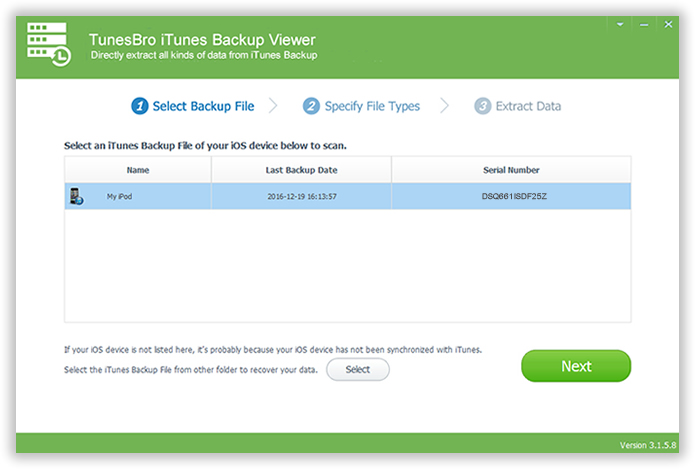 Choose iTunes Backup and Scan It