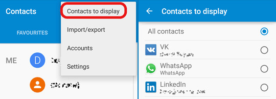 display hidden android contacts