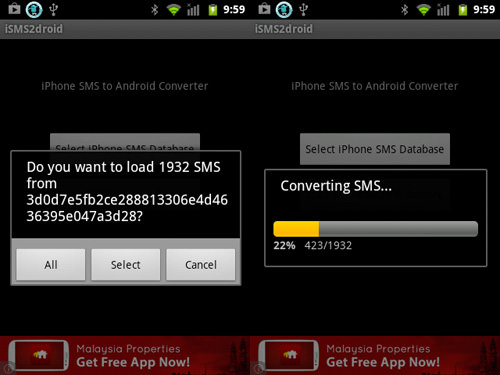 load iphone sms database on samsung