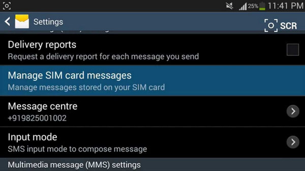store message in sim card