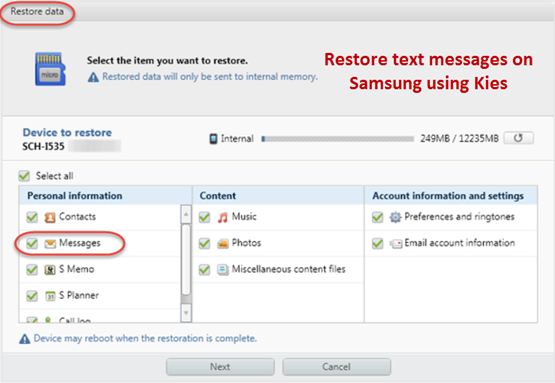 restore messages from kies backup