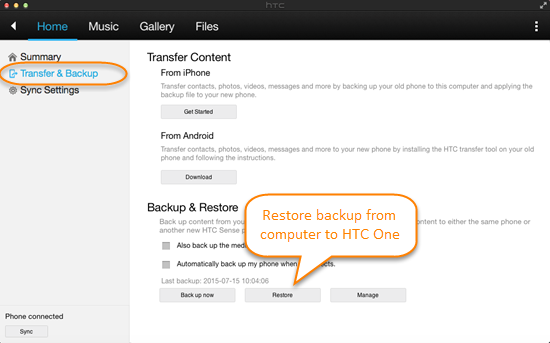 restore from htc sync manager backup