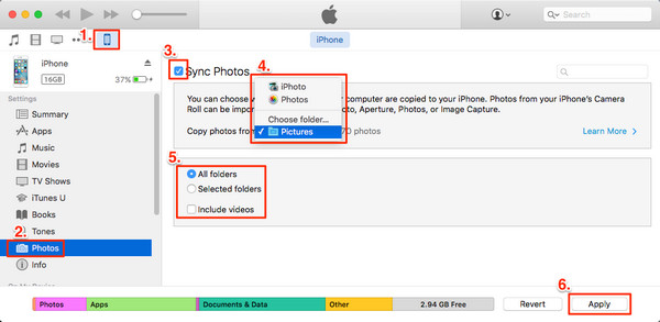 iTunes photo transfer