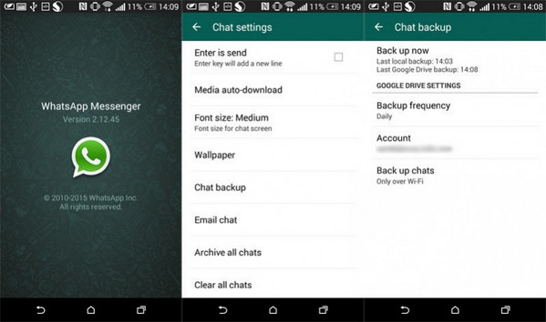 whatsapp backup android