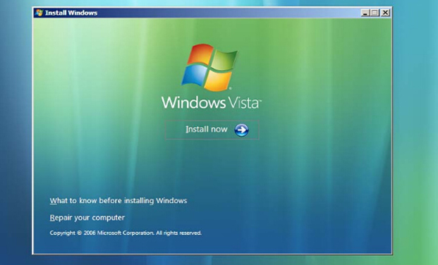 install Windows vista system